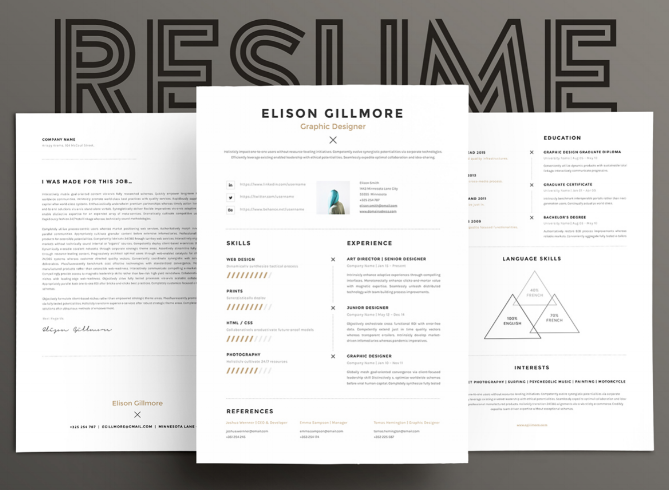 Template Cover Letter Design Free Black Professional Resume Fondul on